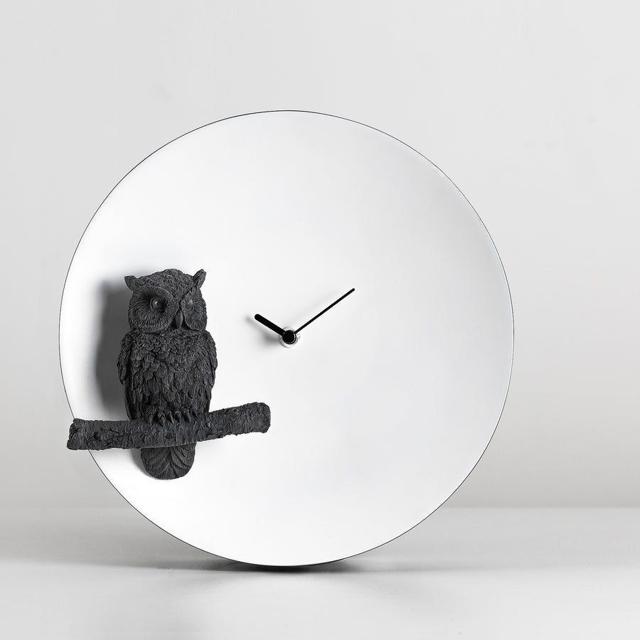 Black & White Contrast Modern Minimalist Wall Clock with Owl Figurines Ornament and Gifts
