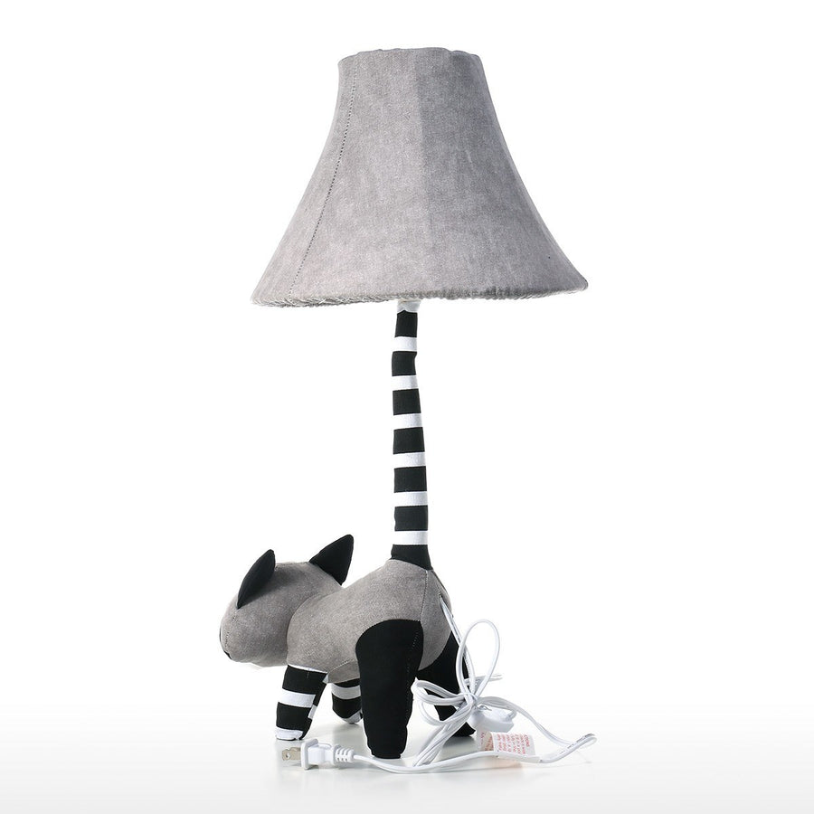 Black and White Cute Raccoon Decor with Table Lamp for Nursery Decor