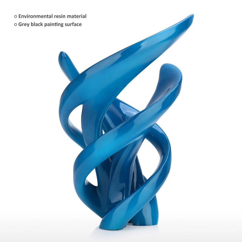 Blue Abstract and Geometric Sculpture For Accent Decor