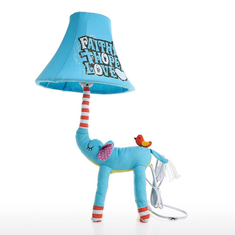 Blue Bedside Lamp with Elephant Toy
