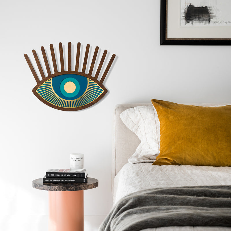 Blue Eye and Eyelash Artwork by Wood For Bedroom Wall Decor