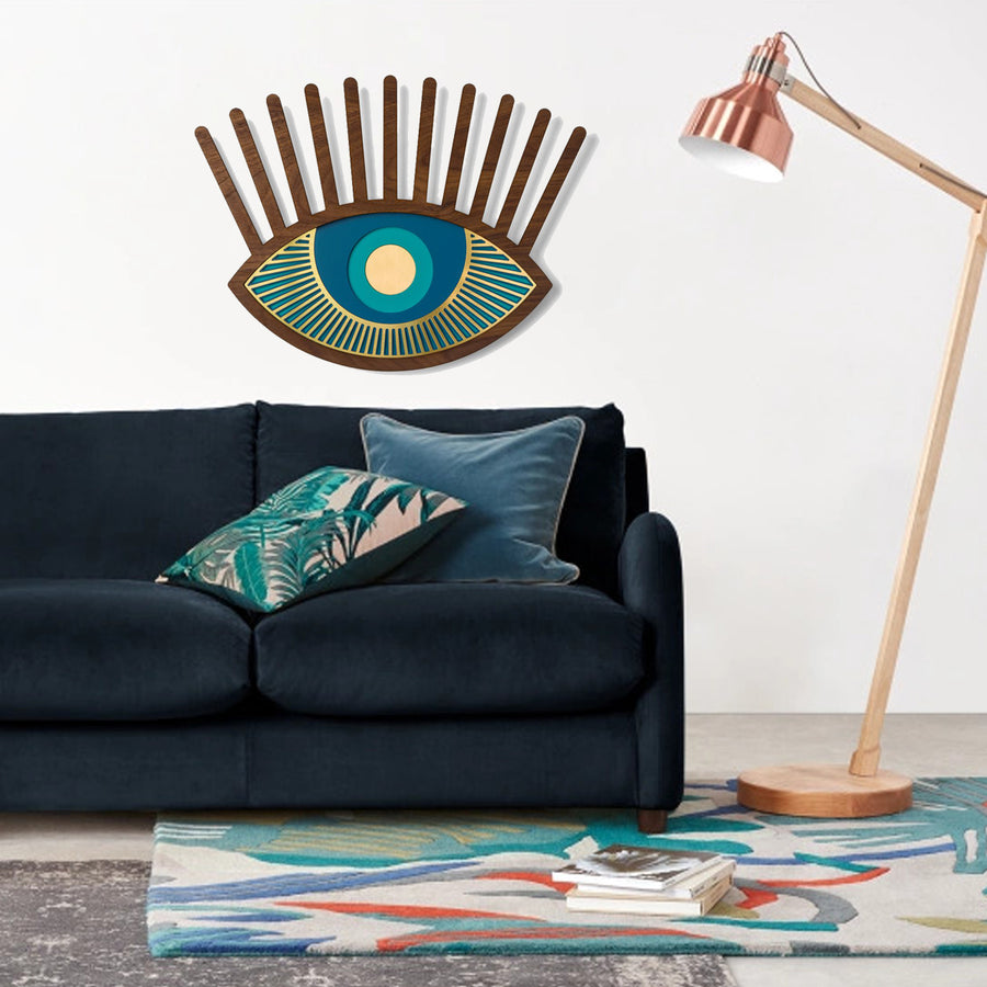 Blue Eye and Eyelash Wall Artwork by Wood Wall Art