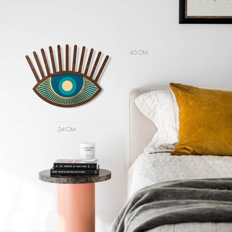 Blue Eye and Eyelash Wall Decor with Carved Wood Wall Art