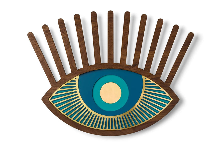 Blue Eye with Carved Wooden Eyelash and Eye Wall Art Decor inspired Contact Lenses