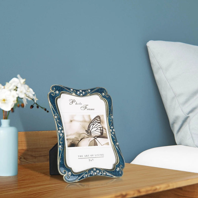 Blue Photo Frame for Tabletop Home Decor Accent