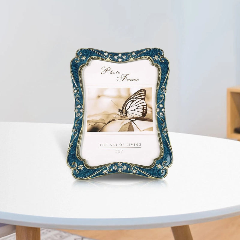 Blue Picture Frame For Tabletop Home Decor Accent