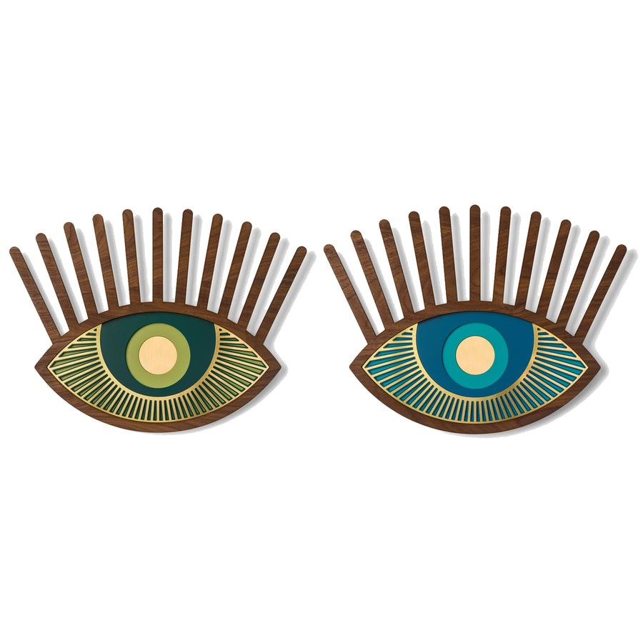 Blue and Green Eyes Wall Decor with Carved Wood Wall Art inspired Contact Lenses