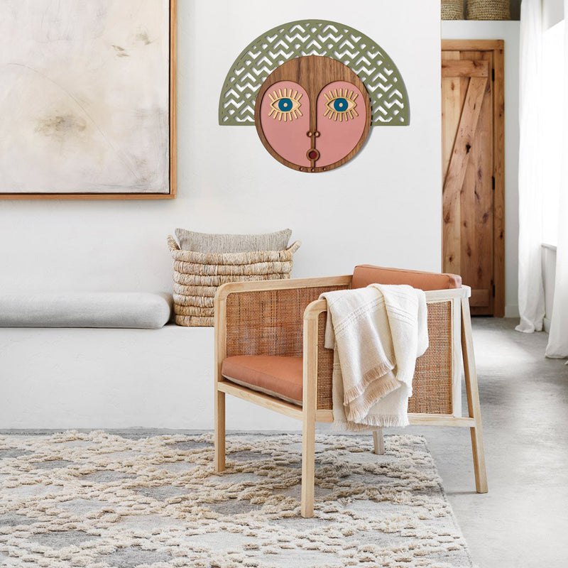 Afrocentric Wall Art African Mask on the Wooden in Boho Decor