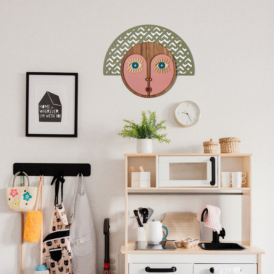 Boho Wall Decor and Wood Wall Art by Pink Wall Hanging with Afrocentric and African Details