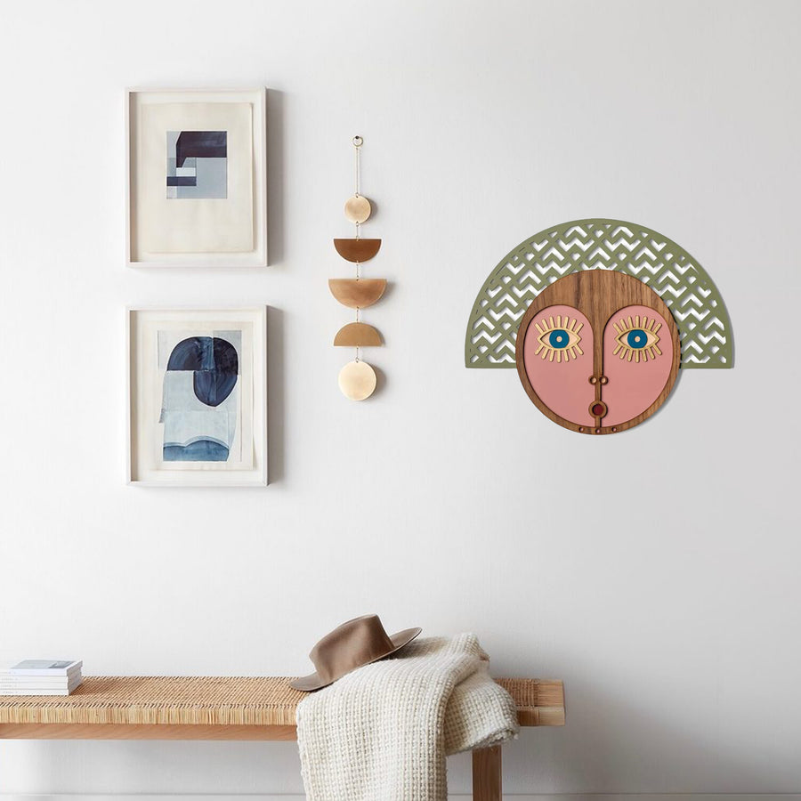 Boho Wall Decor with Wall Hanging on the Wood Wall Art