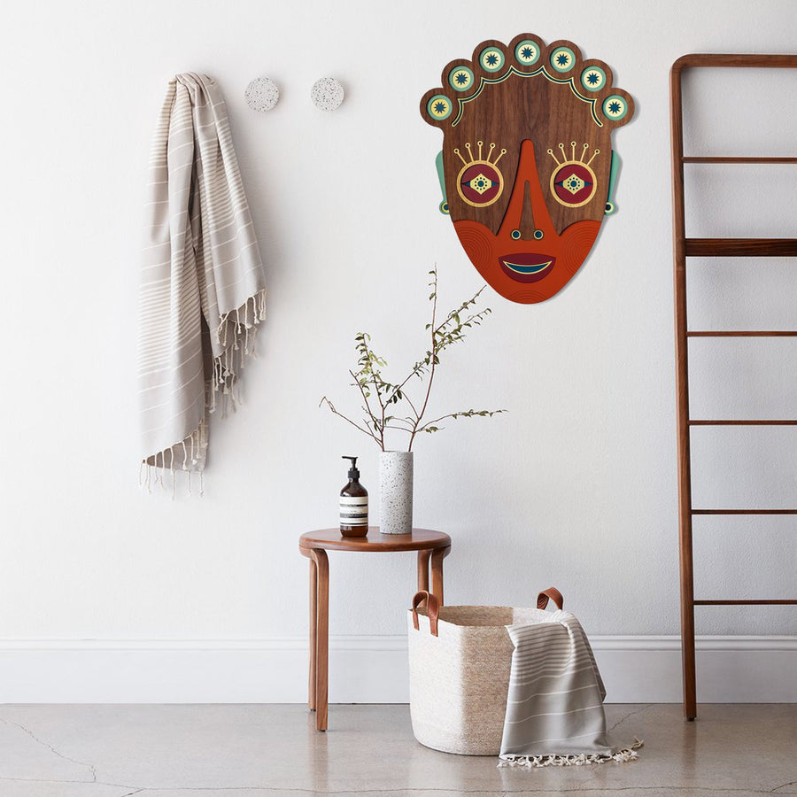 Boho Wall Hanging on the Wood Chic Wall Decor Colorful African Masks