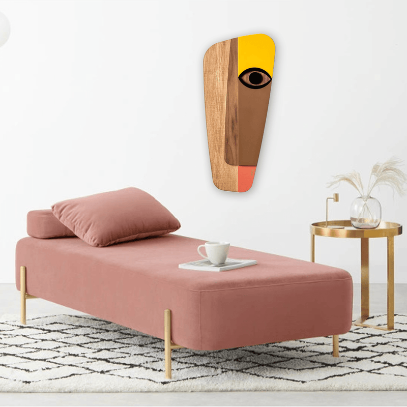 Boho and Bohemian Wall Decor with Pastel Yellows Picasso Face Paintings Wood Wall Art