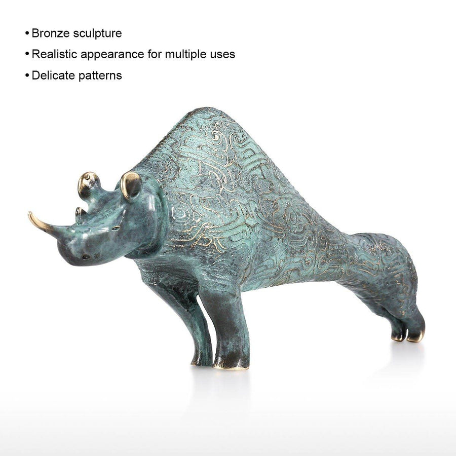 Bronze Sculpture with Rhinoceros Ornament and Decor for Home Decor and Christmas Decorations