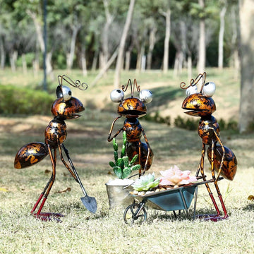 Cartoon-Hardworking Ant Figurines as Gardener to Garden Decor and Ornaments