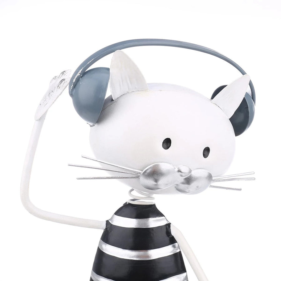 Cartoon Cat Sculpture Ornaments and Decor Can a Cat Listen to Music and Dance inspired by Felix the Cat and Sylvester the Cat Figurines