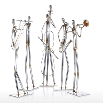 Cello, Guitar, Flute, Trumpet, Saxophone with Musician and Symphony Orchestra Metal Sculpture