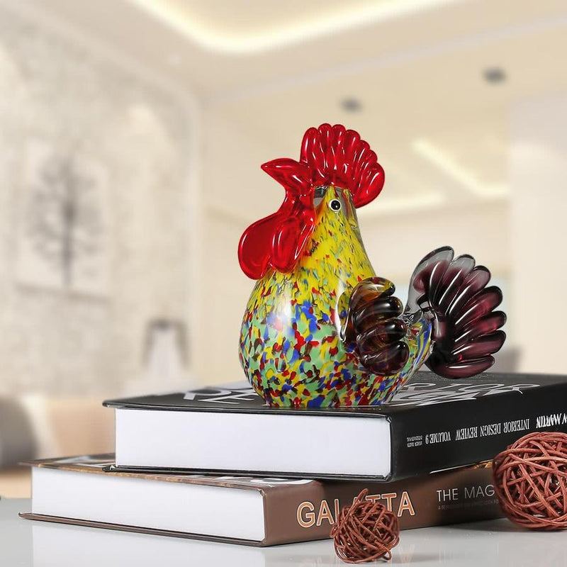 Chicken Christmas Decor and Ornaments by Glass Art Sculpture