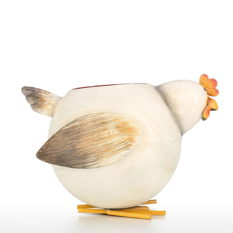 Chicken Kitchen Decor with Metal and Small Plant Pot