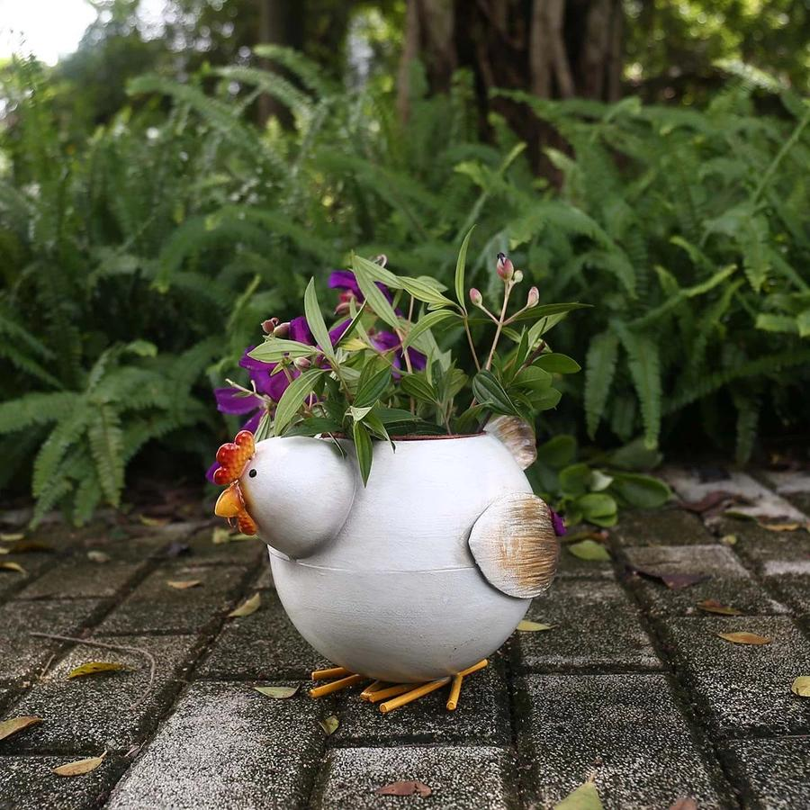 Chicken Plant Pot Holder Farmhouse Decor