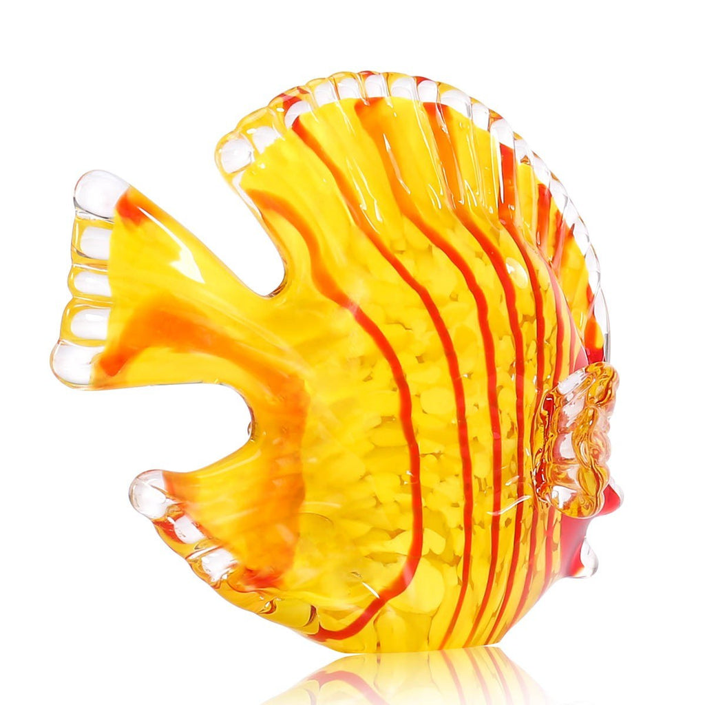 Christmas Glass Ornaments with Red Fish and Yellow Fish Glass Feature