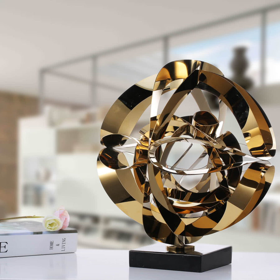 Christmas Ornaments or Christmas Decorations with Abstract Art and Metal Steel Gold Sculpture Furniture