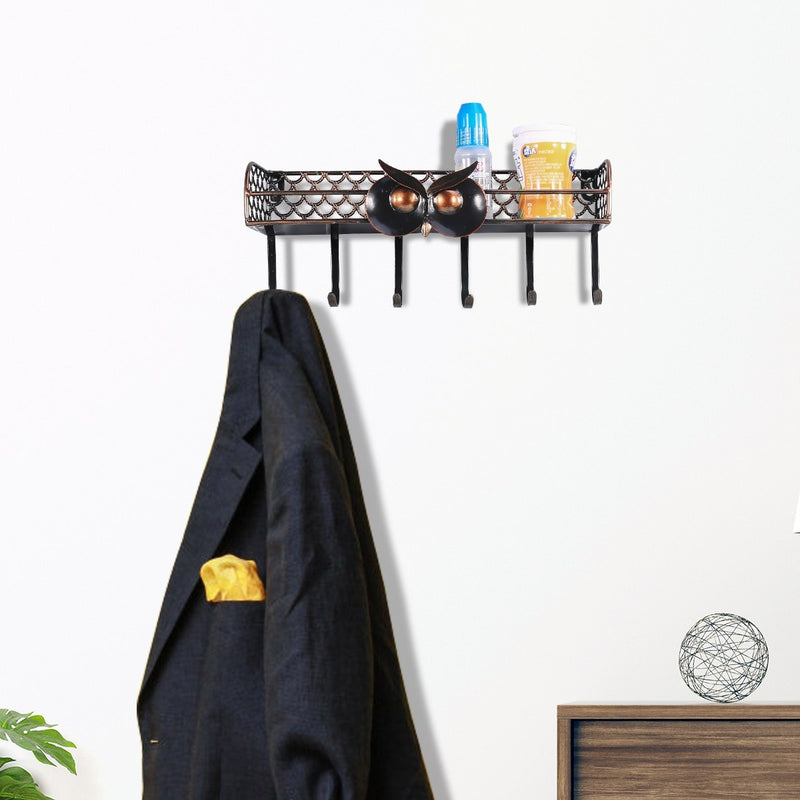 Coat Rack and Wall Mounted Shelves for Key Holder or Kitchen Organizer Black Color and Owl Feature