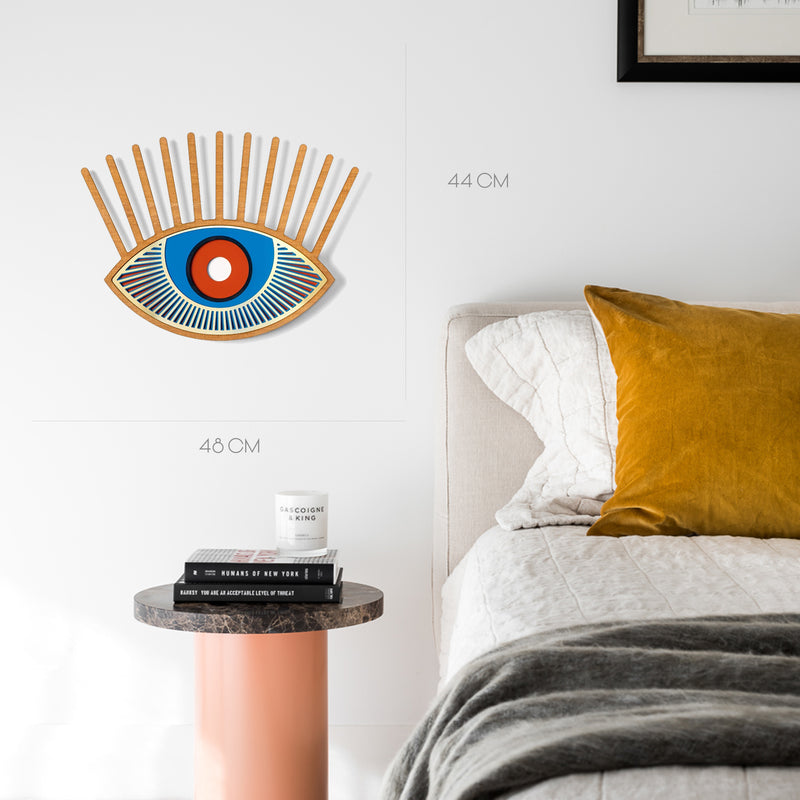 Colored Eye and Eyelash Wall Decor with Carved Wood Wall Art