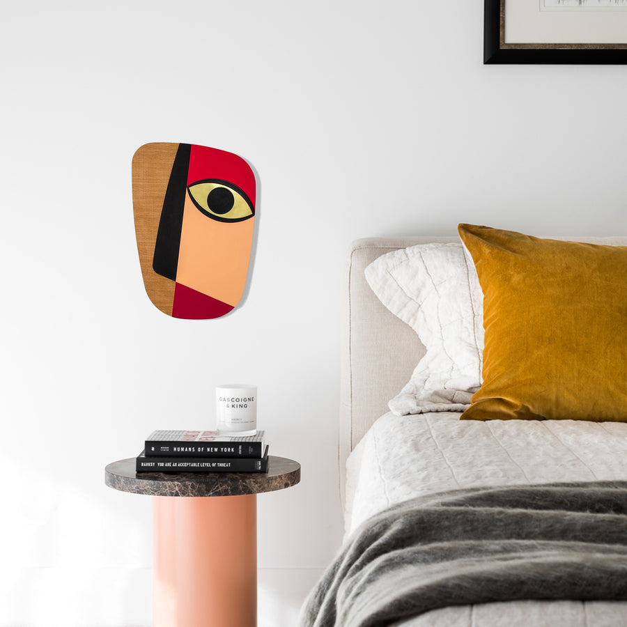 Colorful-and-Abstract-Wood-Wall-art-at-the-Bedroom-Wall-Decor