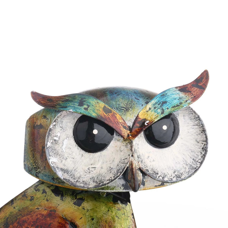 Colorful Metal Owl Sculpture to Decor and Ornaments or Owl Gifts