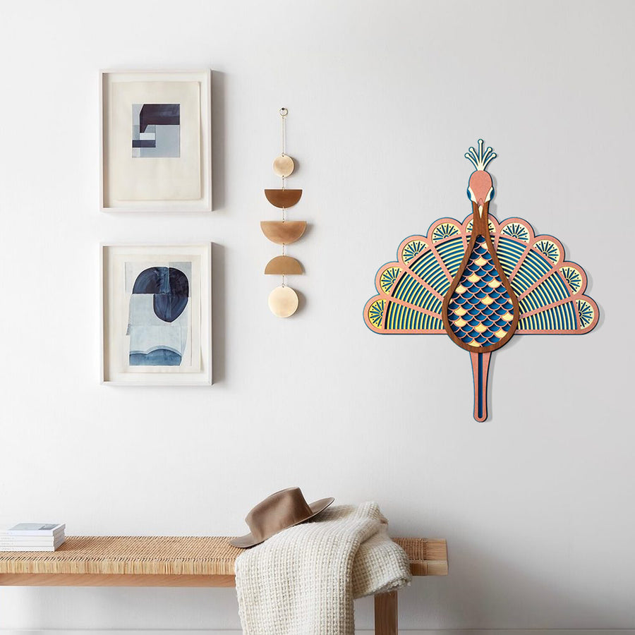 Colorful Peacock Wood Wall Art For Home & Farmhouse Decor Natural Life