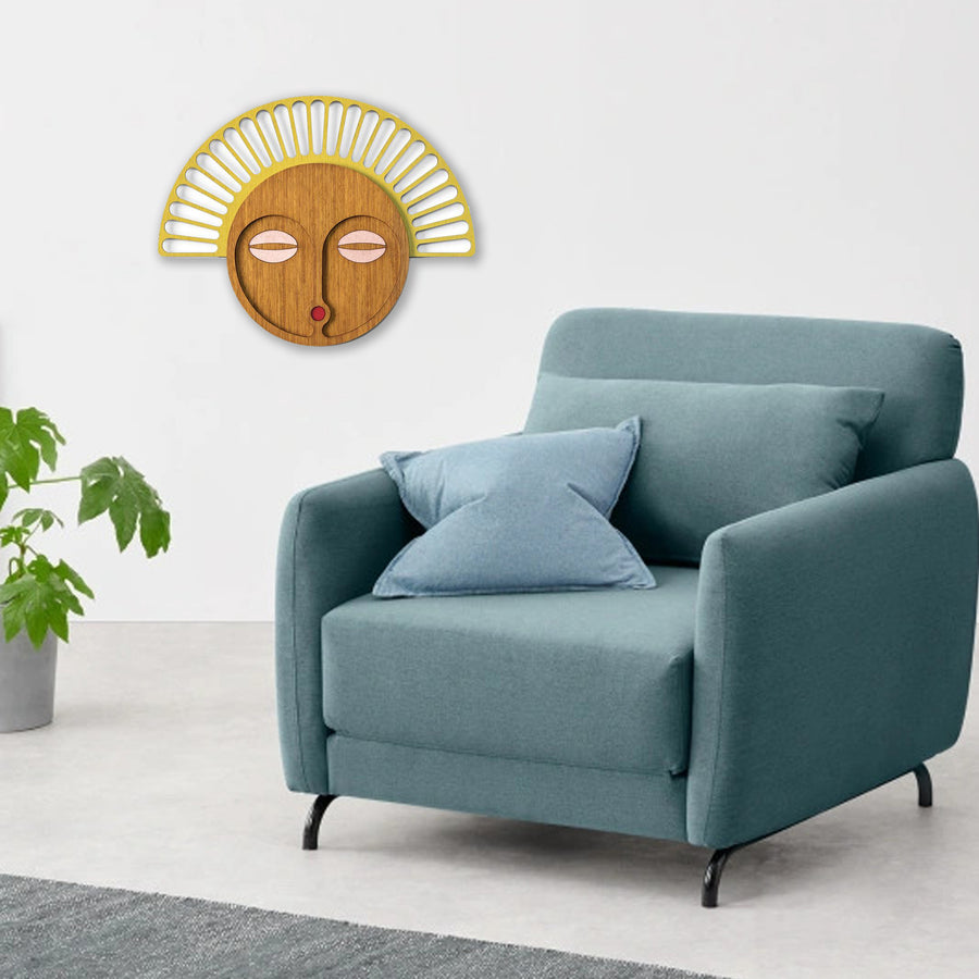 Contemporary Wood Wall Art with African Wall Mask