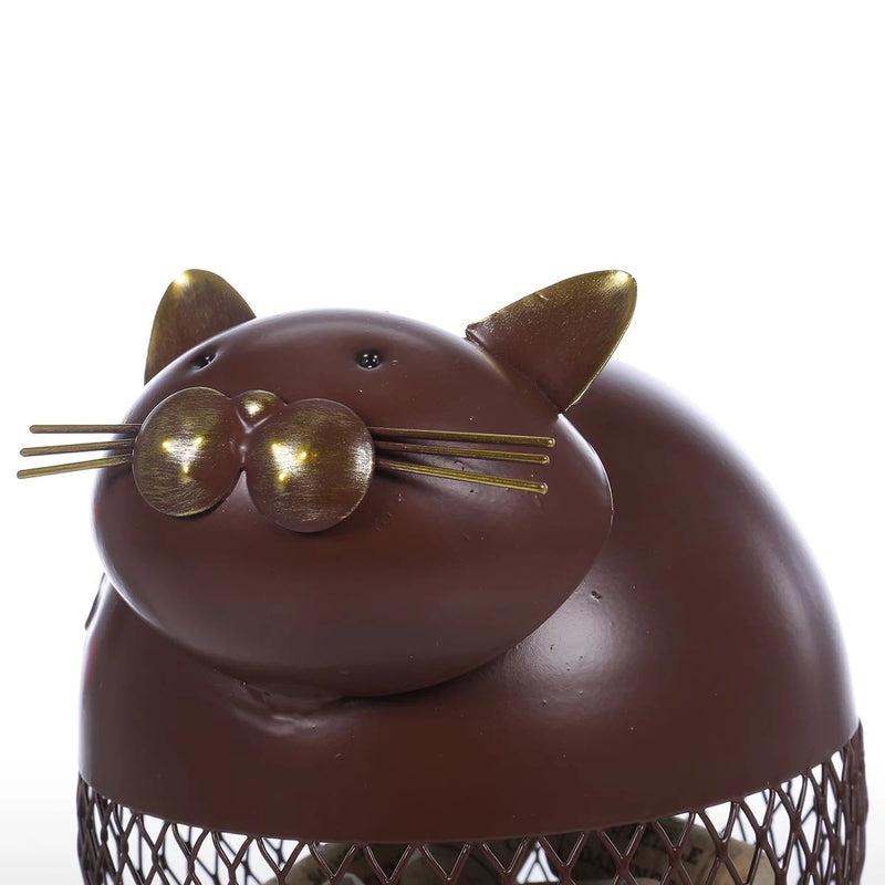 Decorative Jar with Cute Cat Figurine for Kitchen Countertop Decor