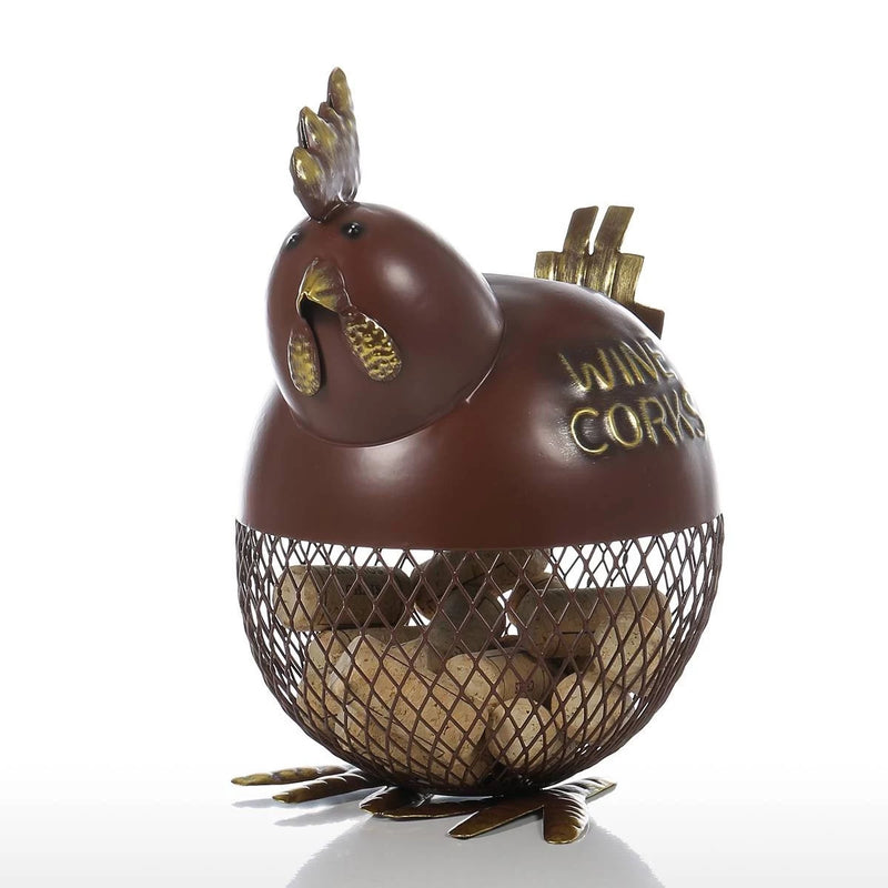 Decorative Jar with Metal Chicken for Kitchen Countertop Decor