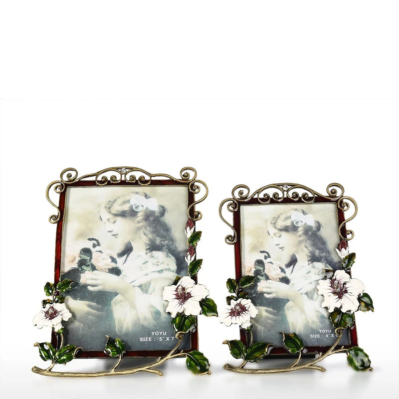 Decorative Photo and Picture Frame with Flower Brooch