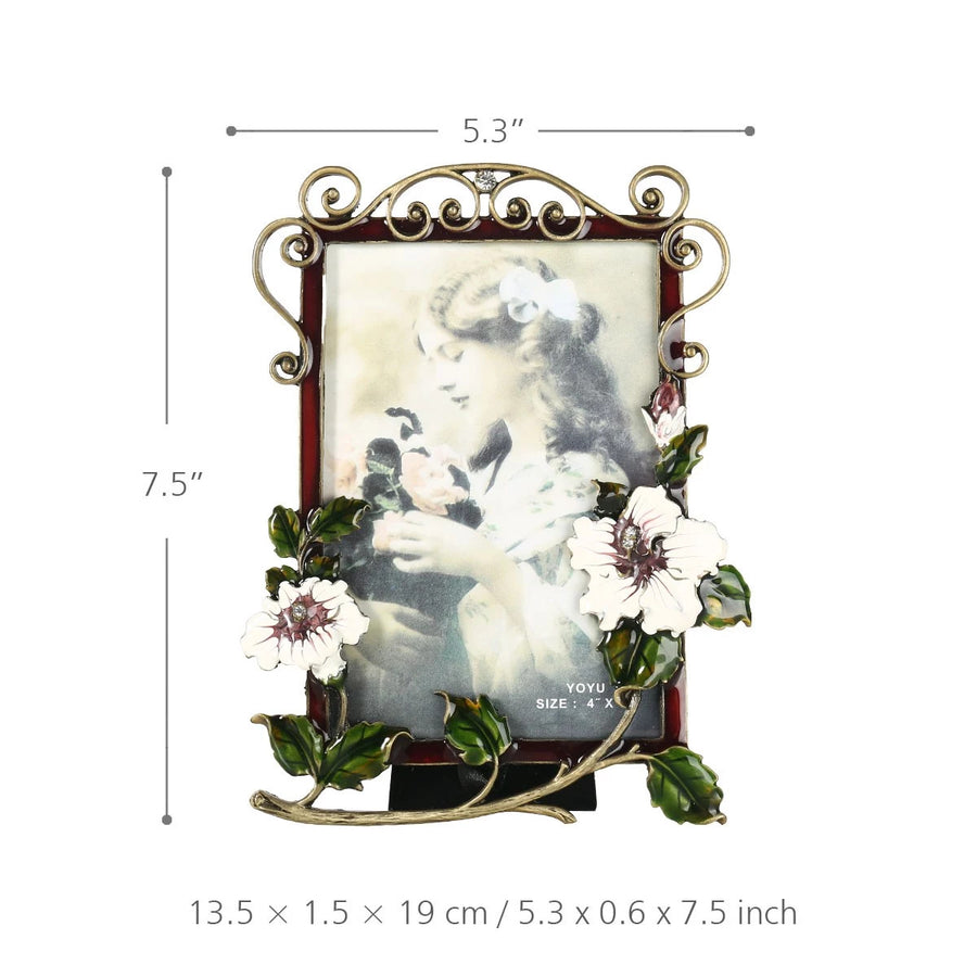 Decorative Picture Frame with Flower Brooch