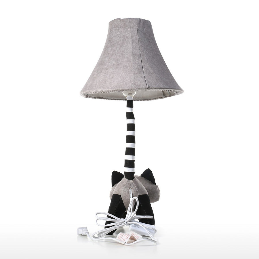 Decorative Table Lamp and Kids Table Lamp with Black and White Raccoon Decor for Nursery