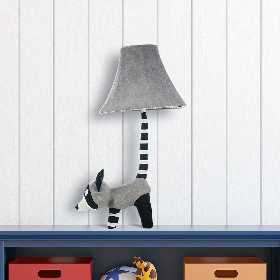 Desk Lamp and Table Lamp with White and Black Raccoon Decor for Nursery Decor