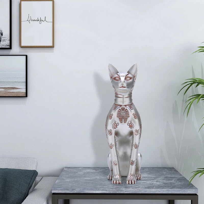 Egyptian Cat Statue by Resin For Gifts & Decor inspired by Great Sphinx of Giza