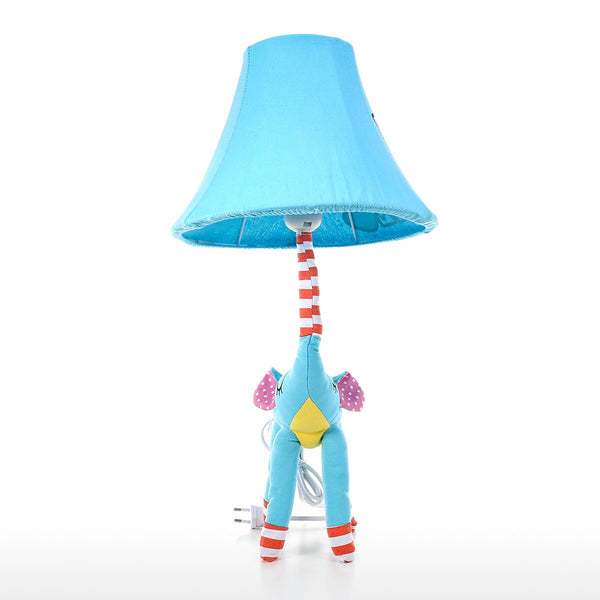 Elephant Blue Table Lamp with Decorative Toy for Kids Bedroom