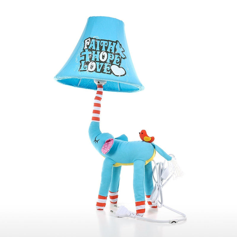 Elephant Ornament and Elephant Decor with Blue Table Lamp and Blue Desk Lamp for Nursery