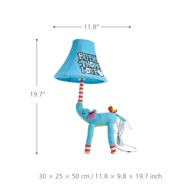 Elephant Toys and Elephant Table Lamp with Blue and Textile Fabric Feature