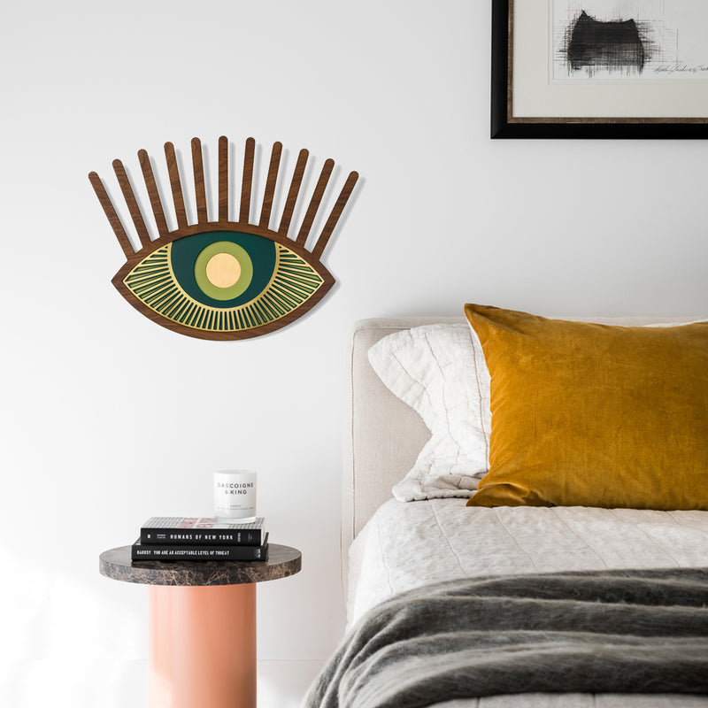 Eye and Eyelash by Wooden For Bedroom Wall Decor