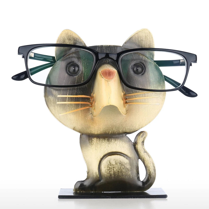 Eyeglass Rack with Cat Figurines Ornaments to Desk Organizer and Desktop Accessories in Business or Home Life