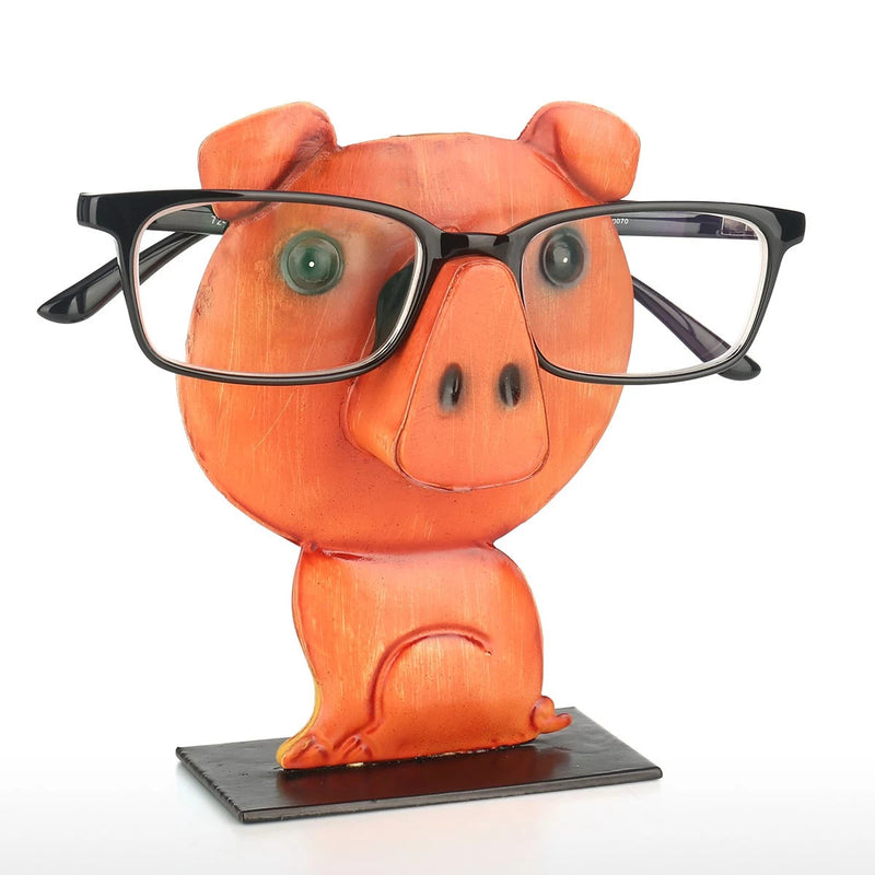 Eyeglass Rack with Orange Animal Pig Figurines to Desktop Accessories and Organizer for Home or Business Life