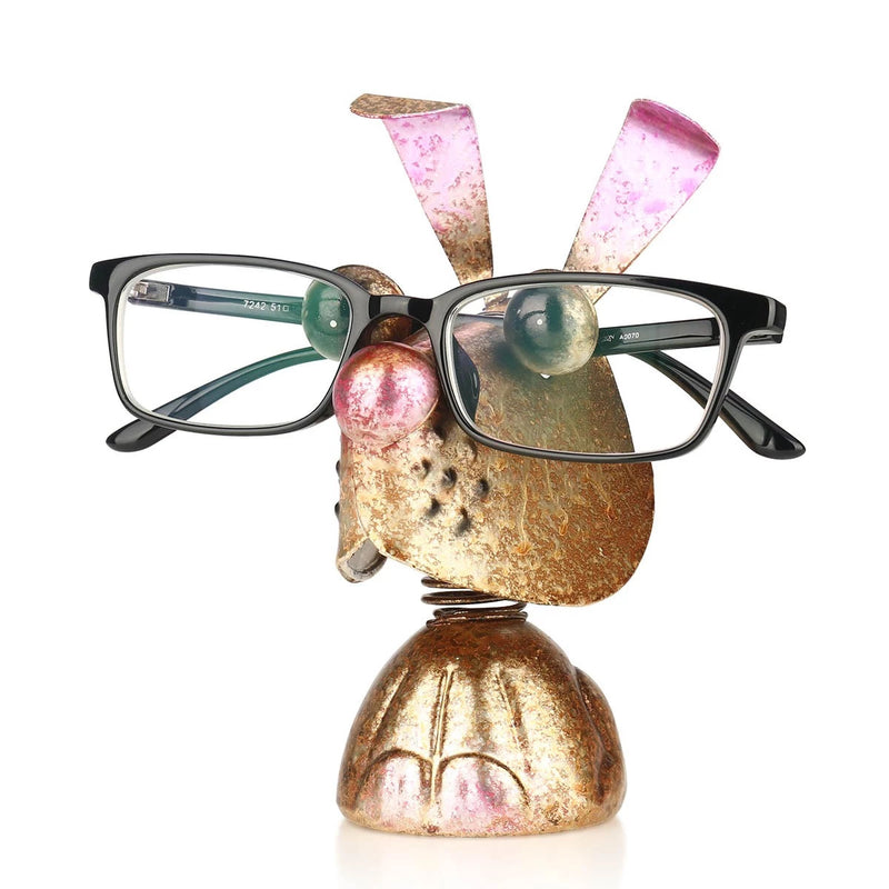 Eyeglass Rack with Rabbit Animal Figurines to Desk Organizer and Desktop Accessories in Business or Home Life