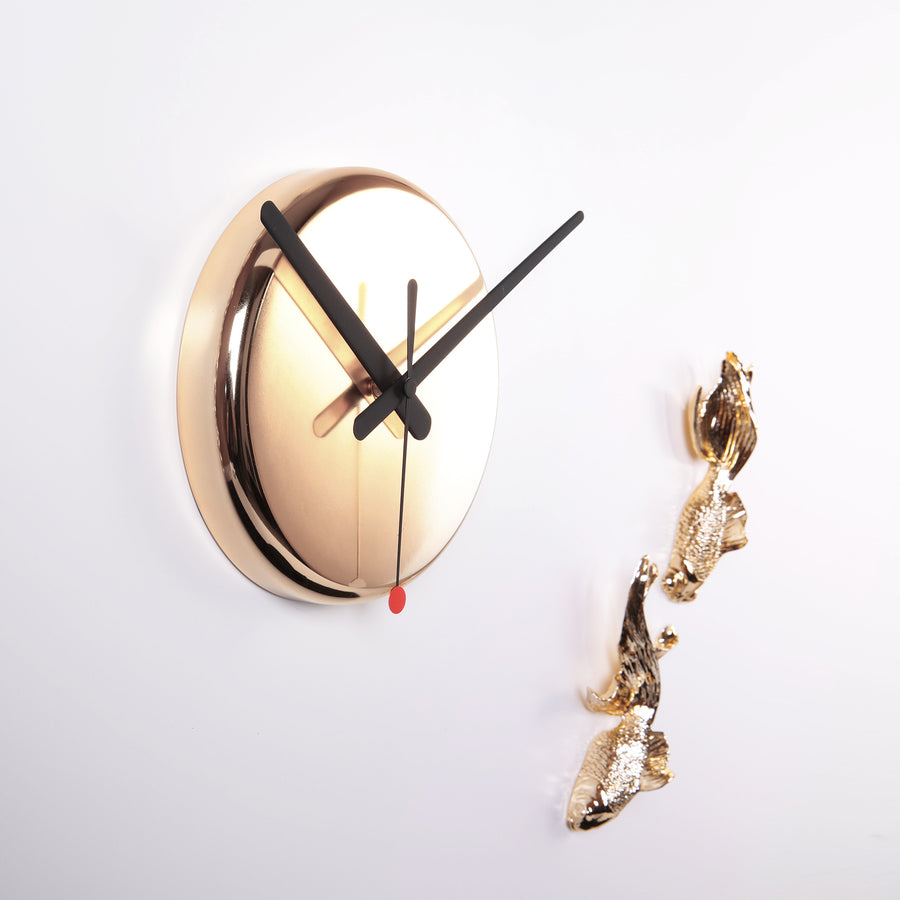 Fish Sculpture Wall Clock to Gold Wall Decor