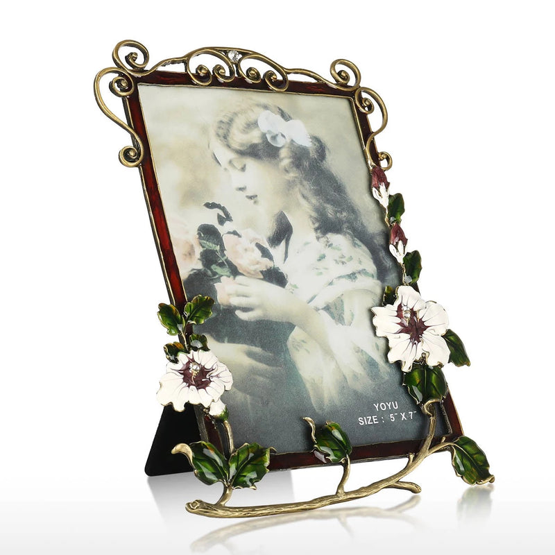 Flower Brooch Decorative Picture and Photo  Frame for Tabletop