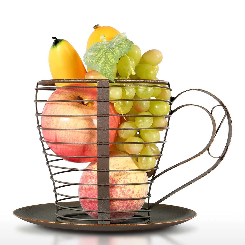 Fruit Basket and Coffee Pod Holder with Metal Baskets Kitchen ...
