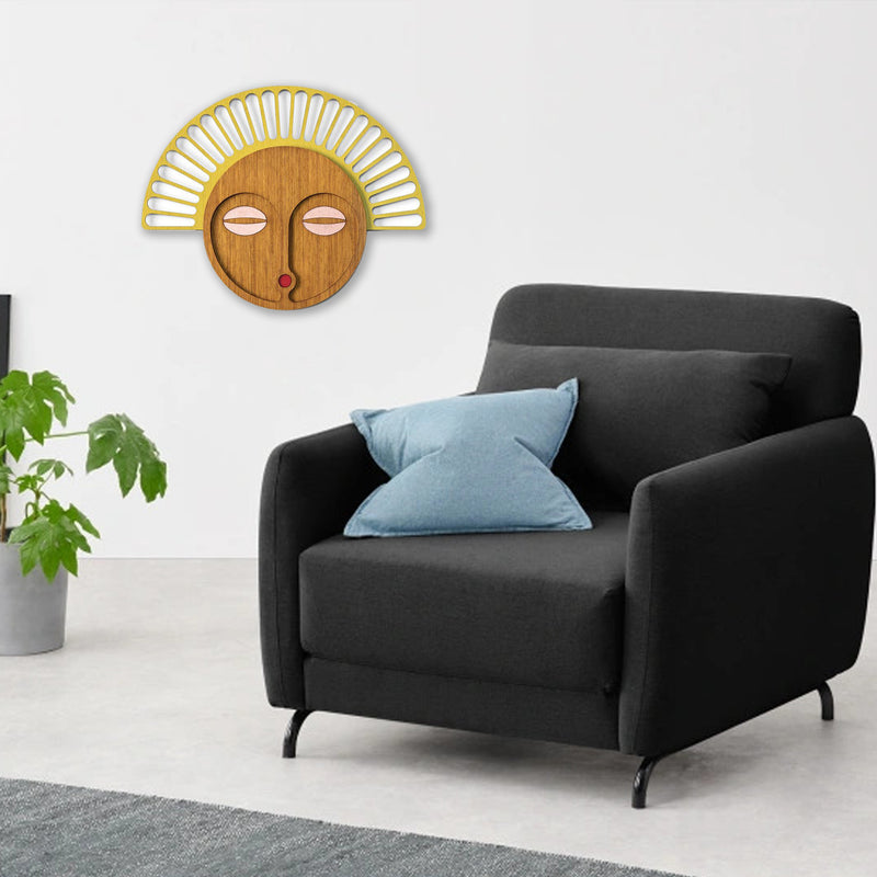 Geometric Wood Wall Art with African Wall Mask