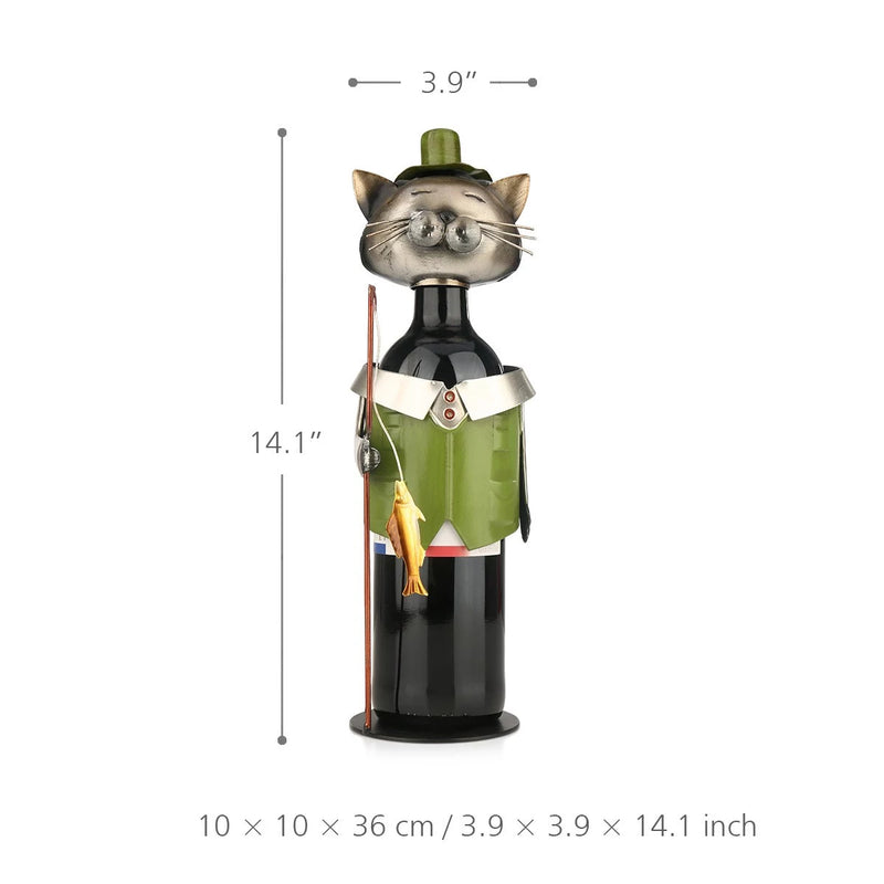 Gifts For Cat Lovers and Gifts For Wine Lovers with Metal Sculpture